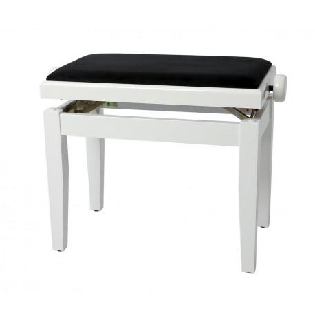 Banqueta de Piano Deluxe Blanco brillante Tapizado blanco