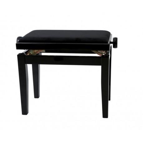 Banqueta de Piano Deluxe Negro Brillante Tapizado negro