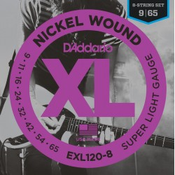 D'Addario EXL120 8 Nickel Wound, 8 String, Super Light, [9 65]