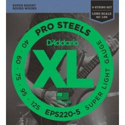 D'Addario EPS220 5 ProSteels Super Light Long Scale [40 125]