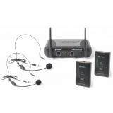 MICROFONO INALAMBRICO 2 CANALES VHF DOBLE CABEZA