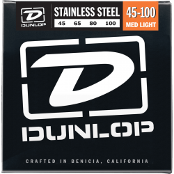 DUNLOP JUEGO BAJO ELEC. STAINLESS STEEL MEDIUM LIGHT 45-100 Stainless Steel