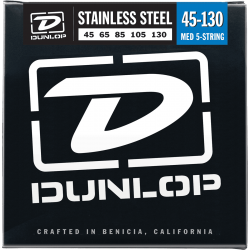 DUNLOP JUEGO BAJO ELEC. STAINLESS STEEL MEDIUM /5St. 45-130 Stainless Steel