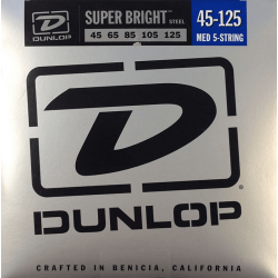 DUNLOP JUEGO BAJO ELEC. SB STEEL MEDIUM 5St. 45-125 Super Bright