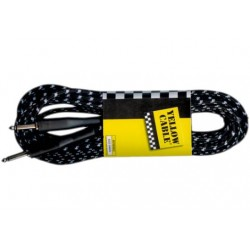Cable de instrumento de 10 metros de largo. 2 jacks rectos. Color negro y gris (YELLOW CABLES)