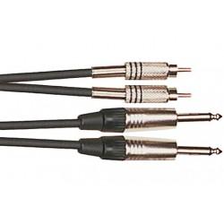 Cable de 3 metros de largo. 2 RCA macho a 2 jack mono macho (YELLOW CABLES)