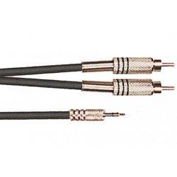 Cable de 3 metros de longitud. Mini jack stereo macho a 2 RCA macho (YELLOW CABLES)