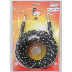 Cable para guitarra EK audio Trenzado de tela SFJJ0016 Jack Jack rectos
