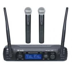 Dos Micrófonos Inalambricos de mano EK audio Sistema WR-69LD VHF