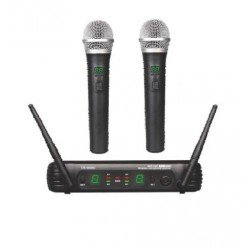 Dos Microfonos Inalambricos de mano EK audio Sistema WR 25 UHF