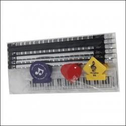 SET 6 PENCILS + RULE + 2 CLIPS CLAMP DL-9121