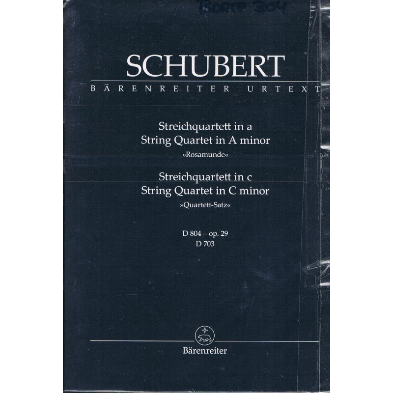 "Schubert, Franz. Cuarteto de Cuerda Op.29 LAm ""Rosamunda"" / Cuarteto de Cuerda en DOm D703. Partitura de Estudio"