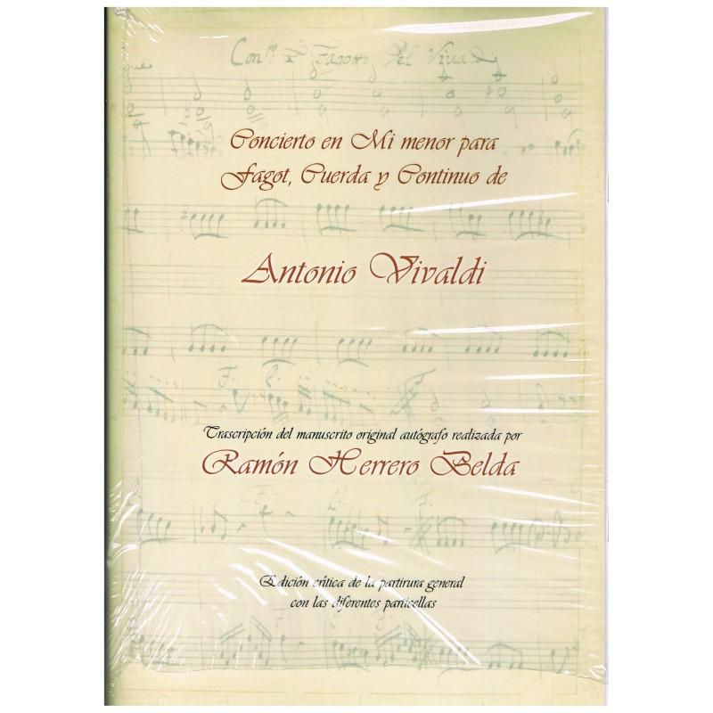 Vivaldi, Antonio. Concierto en Mi Menor para Fagot, Cuerdas y Bajo Contínuo (Full Score y Partes)