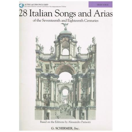 Varios. 28 Italian Songs And Arias de los Siglos XVII y XVIII (High Voice/Piano)