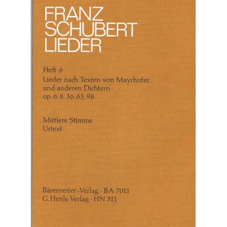 Schubert, Franz. Lieders Vol.6 Op.6/8/36/65/98 (Voz Media/Piano)