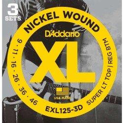 DADDARIO EXL125   XL SUPER LIGHT TOP / REGULAR BOTTOM (PACK 3 JUEGOS)