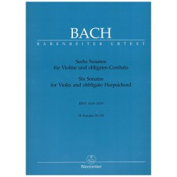 Bach, J.S. Six Sonatas for Violin and Obbligato Harpsichord Vol.2 (4-6). Score + Parts