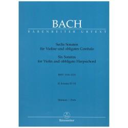 Bach, J.S. Six Sonatas for Violin and Obbligato Harpsichord Vol.2 (4-6). Score + Parts
