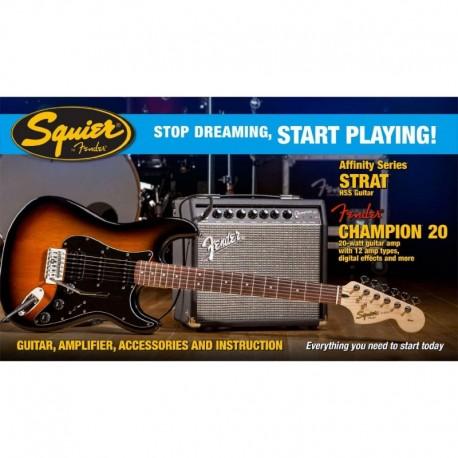 Pack Fender Squier Strat HSS CH20 BSB