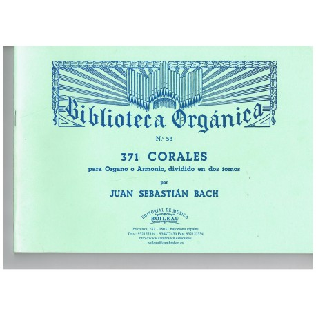 Bach, J.S. 371 Corales Para Organo Vol.2. Boileau