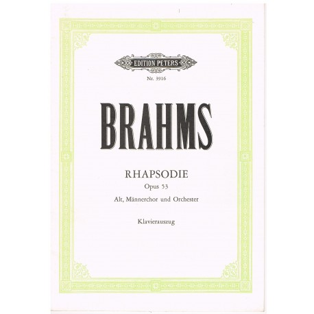 Brahms. Rapsodia Op.53. Voz/Piano. Peters