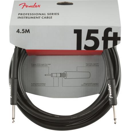 Fender Professional Series Instrument Cable, Straight/Straight, 15', Black