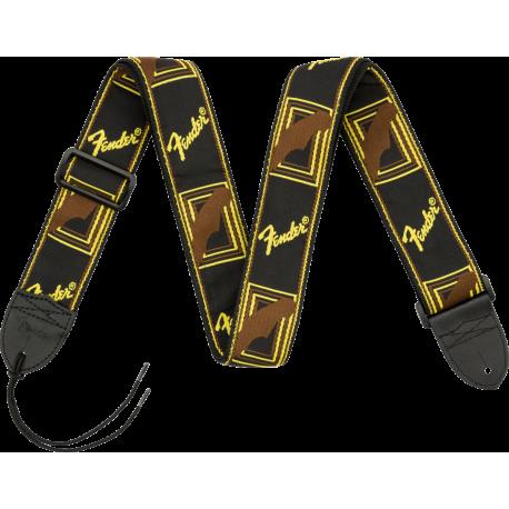 "Correa  Fender® 2"" Monogrammed Strap, Black/Yellow/Brown"
