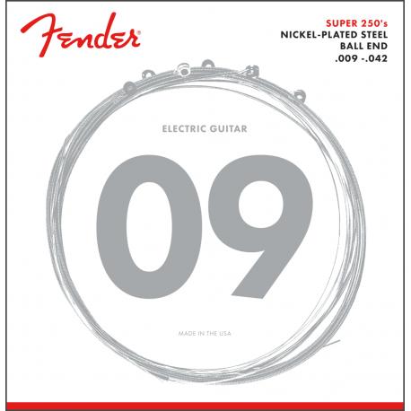 Fender Super 250 Guitar Strings, Nickel Plated Steel, Ball End, 250L Gauges .009-.042, (6)