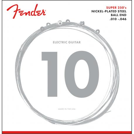 Fender Super 250 Guitar Strings, Nickel Plated Steel, Ball End, 250R Gauges .010-.046, (6)