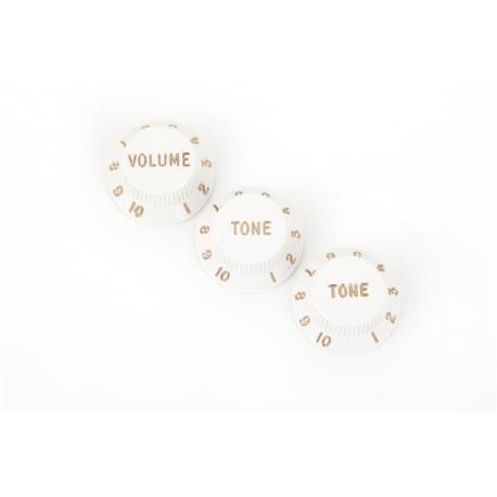 Fender Stratocaster® Knobs, White (Volume, Tone, Tone) (3)