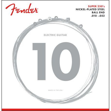 Fender Super 250 Guitar Strings, Nickel Plated Steel, Ball End, 250RH Gauges .010-.052, (6)