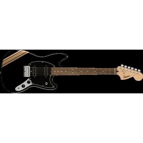 Squier FSR Bullet® Competition Mustang® HH, Laurel Fingerboard, Black Pickguard, Black with Shoreline Gold Stripes