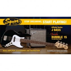 Pack bajo Fender Squier Negro + Fender Rumble 15
