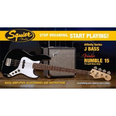Pack bajo Fender Squier Negro + Fender Rumble 15