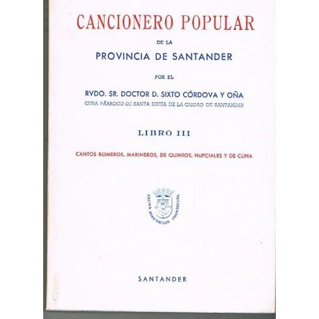 Córdova y Oña. Cancionero Popular de la Provincia de Santander. Libro III