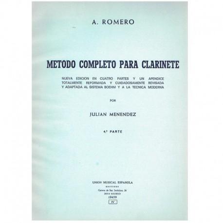 Romero, A. Método Completo para Clarinete Vol.4. UME