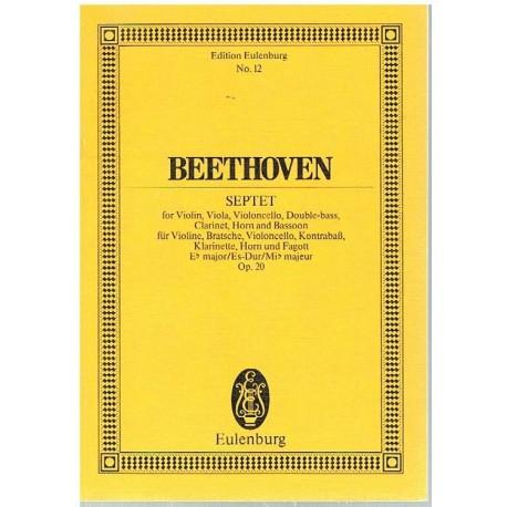 Beethoven. Septeto Op.20 MIb Mayor (Full Score Bolsillo). Eulenburg