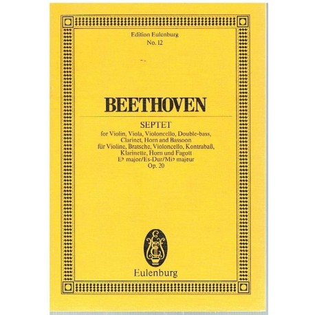 Beethoven. Septeto Op.20 MIb Mayor (Partitura de Bolsillo)