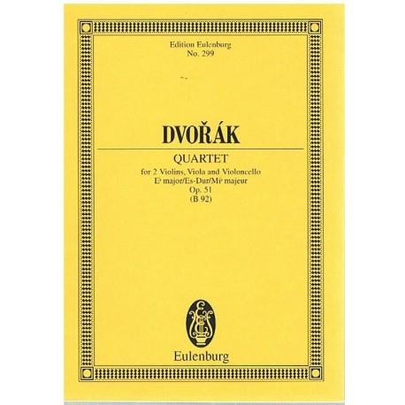 Dvorak. Cuarteto Op.51 Mib Mayor 2 Violines/Viola/Cello (Full Score Bolsillo). Eulenburg