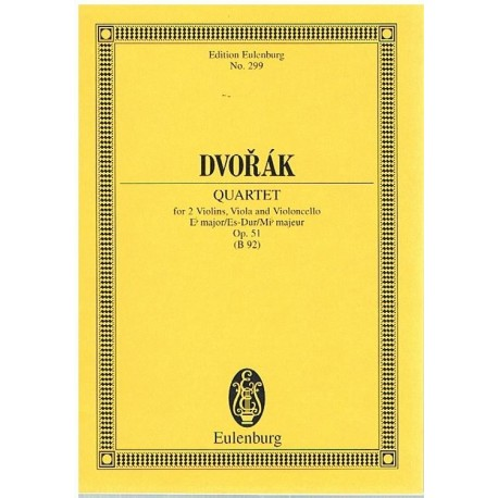 Dvorak. Cuarteto Op.51 Mib Mayor 2 Violines/Viola/Cello (Partitura de Bolsillo)