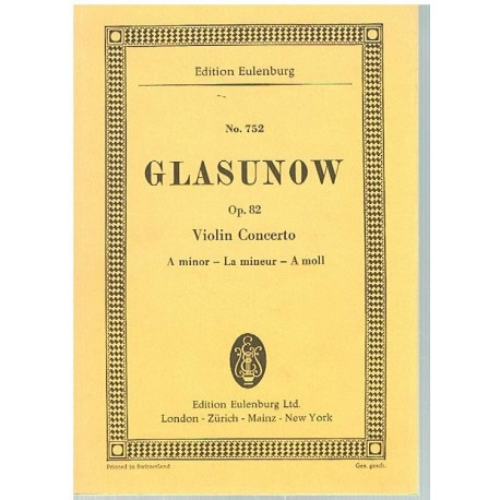 Glasunow. Concierto Para Violin Op.82 La menor (Full Score Bolsillo). Eulenburg