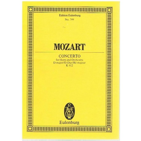 Mozart. Concierto para Trompa y Orquesta en Re Mayor K.412 (Full Score Bolsillo). Eulenburg