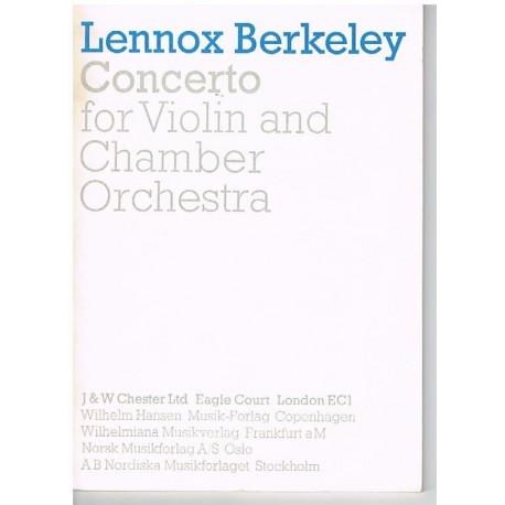 Berkeley, Le Concierto Para Violin y Orquesta de Cámara (Partitura de Bolsill