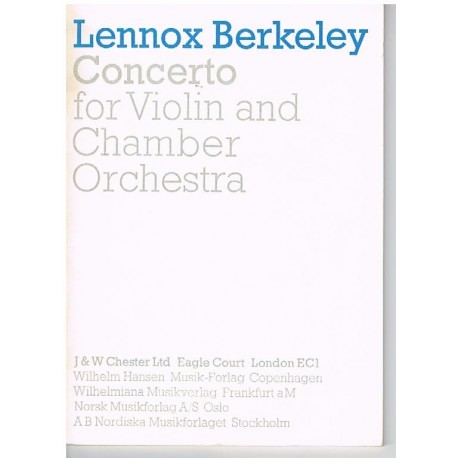 Berkeley, Lennox. Concierto Para Violín y Orquesta de Cámara (Full Score Bolsillo). Chester Music