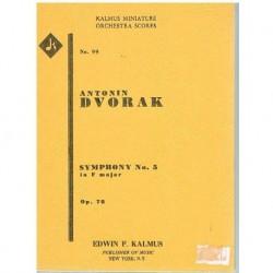 Dvorak Sinfonía Nº5 en Fa Mayor Op.76 (Partitura de Bolsillo)
