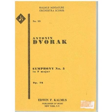 Dvorak. Sinfonía Nº5 en Fa Mayor Op.76 (Full Score Bolsillo). Kalmus