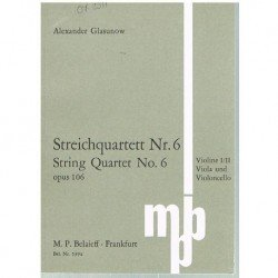 Glasunow. Cuarteto de Cuerda Nº6 Op.106 (Partitura de Bolsillo)