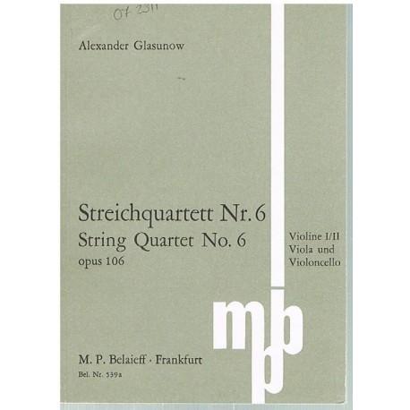 Glasunow. Cuarteto de Cuerda Nº6 Op.106 (Full Score Bolsillo). Belaieff
