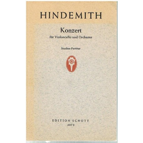 Hindemith. Concierto Para Violoncello y Orquesta (Full Score Bolsillo). Schott