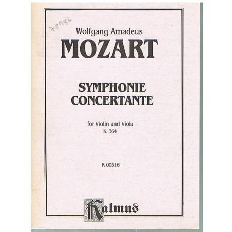 Mozart. Sinfonía Concertante K.364 (Violin y Viola) (Full Score Bolsillo). Kalmus